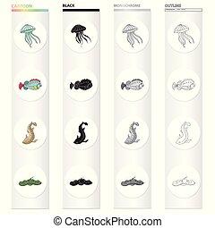 peixe, profundo, jogo, mar, monocromático, estilo, ícones, pretas, animal, medusa, estoque, elétrico, símbolo, web., ilustração, tiger, cobrança, stingray.sea, caricatura, esboço, vetorial, tubarão