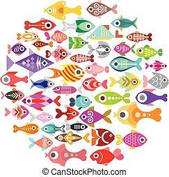 peixe, redondo, ícones