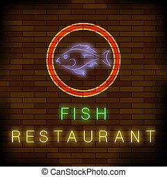peixe, restaurante, néon, coloridos, sinal