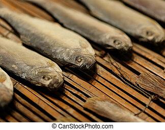 peixe, sal, secado