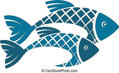 peixe, silueta, dois