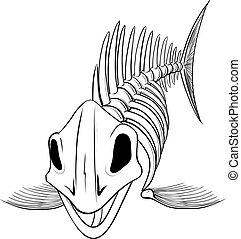 peixe, silueta, esqueleto