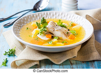 peixe, sopa