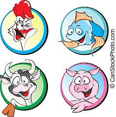 peixe, suina, galinha, vaca