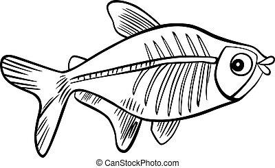 peixe, tinja livro, raio x, caricatura