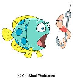 peixe, verme