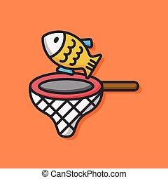peixe, vetorial, animal, ícone