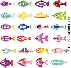 peixe, vetorial, aquário, ícones