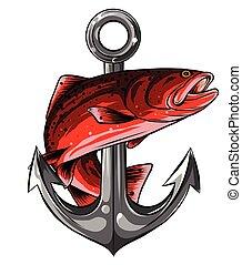 peixe, vetorial, arte, linha, ilustração, âncora, qualidade