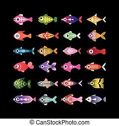 peixe, vetorial, coloridos, ícones