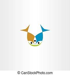 peixe, vetorial, comer, dois, ícone