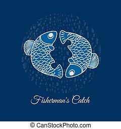 peixe, vetorial, dois