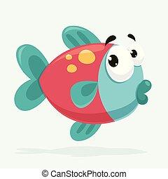 peixe, vetorial, ilustração