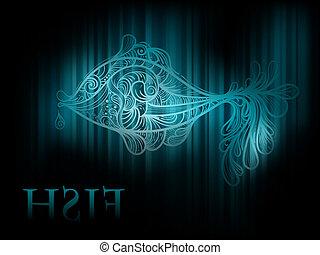 peixe, vetorial, listras, fundo