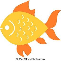 peixe, vetorial, ouro, ícone