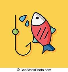 peixe, vetorial, pesca, ícone