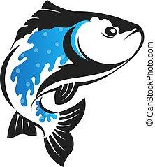 peixe, vetorial, silueta