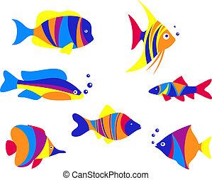 peixes, abstratos, aquário, coloridos