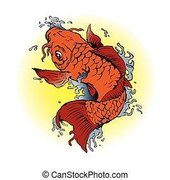 peixes alaranjados koi, ilustração, tatuagem