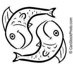 peixes, branca, isolado