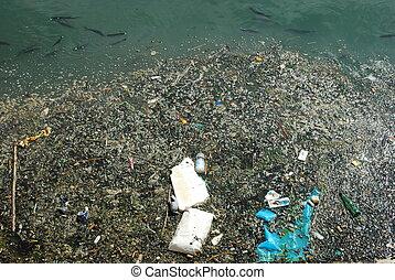 peixes, cheio, rio, lixo, poluído