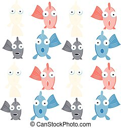 peixes, engraçado, fundo branco