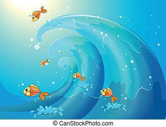 peixes, grande, ao longo, ondas, dançar