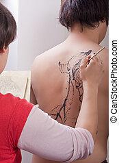 peixes koi, body-painting:, (2)