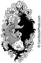 peixes koi, pretas, branca, ilustração