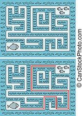 peixes, labirinto, fácil