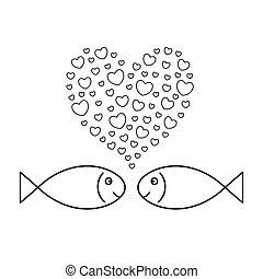 peixes, love., dois, hearts-bubbles.