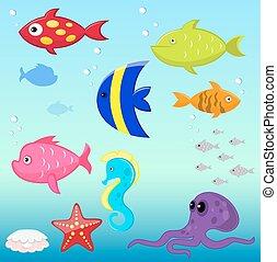 peixes, vetorial, jogo, caricatura