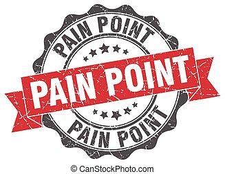 peka, skylt., stamp., smärta, försegla