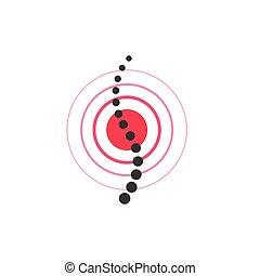 peka, vektor, symbol, smärta, ryggmärg, skada, rygg, ikon
