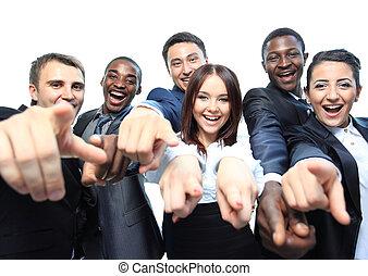 pekande, affärsfolk, ung, stående, dig, spänd
