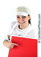pekande, dekoratör, kvinnlig, panel, röd, lycklig
