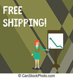 pekande, foto, shipping., direkt, affär, skrift, laddning, holdingen, text, begreppsmässig, kvinna, whiteboard., visande, leverera, kartlägga, gratis, hand, käpp, tilltala, mottagare, s, utan, pil