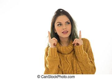 pekande, kvinna, attraktiv, copyspace
