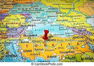 Pekande,  pushpin, karta,  Ankara, röd, häftstift