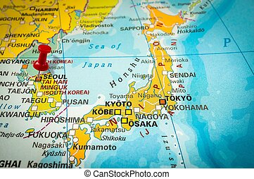 Pekande,  pushpin, karta, häftstift, röd,  Seoul
