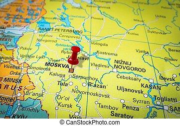 Pekande,  pushpin, Moskva, karta, röd, häftstift