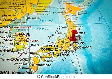 Pekande,  pushpin,  Tokyo, karta, häftstift, röd