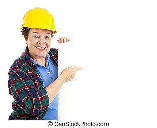 pekar, arbetare, kvinnlig, underteckna