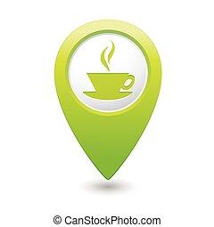 pekare, kopp ikon, kaffe, karta