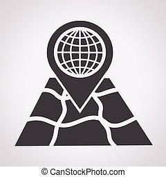 pekare, med, karta, ikon
