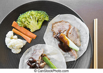 Peking duck in pancake