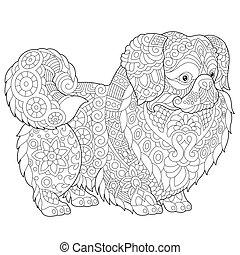 Pekingese Dog - Coloring Page of Pekingese or Japanese Chin...