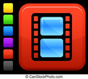 película, ícone, ligado, quadrado, internet, botão