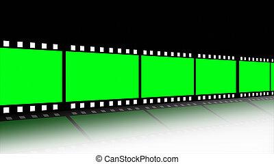 película, animado, carrete