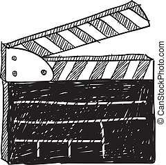 película, bosquejo, clapperboard